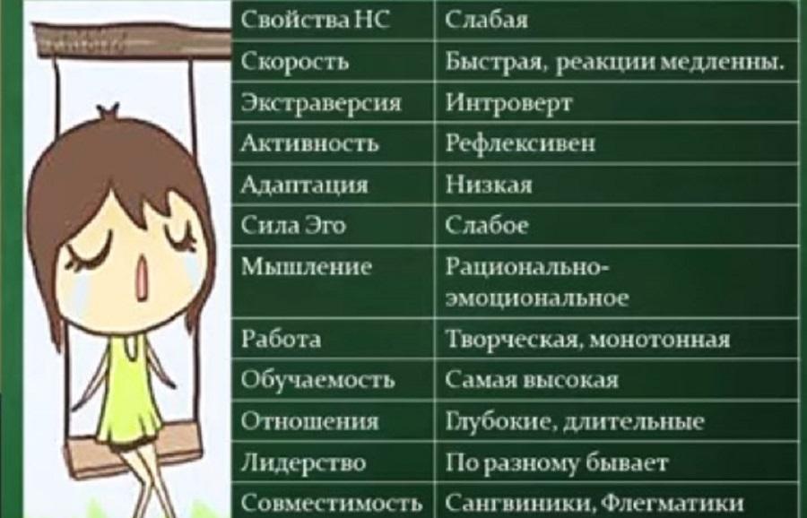 воспитание детей меланхоликов Таблица основных характеристик психотипа